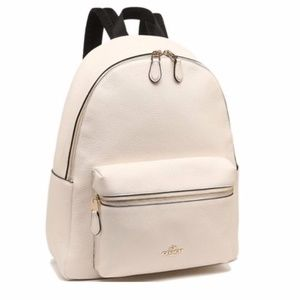 Coach Charlie Pebble Leather Backpack in Chalk